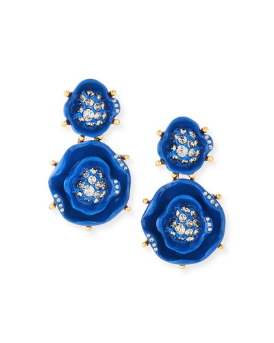 Crystal Rose Drop Earrings, Cobalt