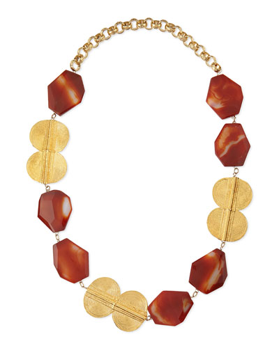 Carnelian Gold-Plated Medallion Necklace