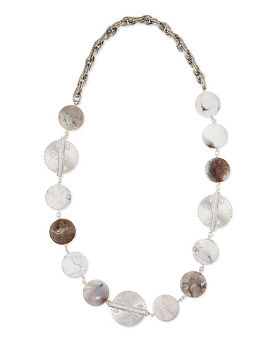 Rhodium-Plate Medallion Agate Necklace
