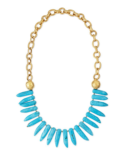 Turquoise Spike Long Necklace