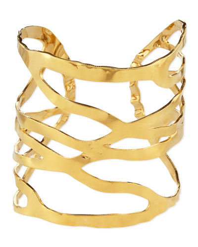 18k Gold-Plated Open Weave Cuff