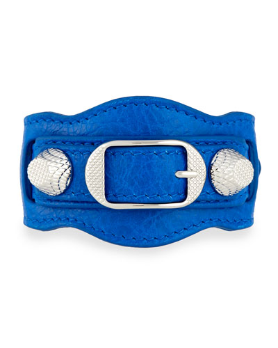 Giant 12 Leather Buckle Bracelet, Blue