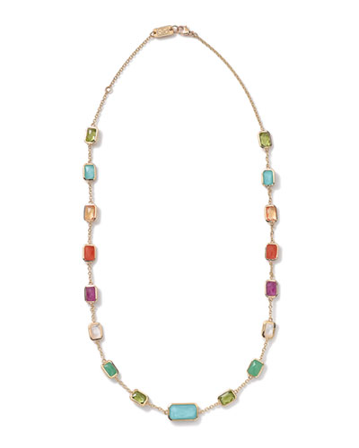 18k Gold Rock Candy Summer Rainbow Multi-Stone Necklace