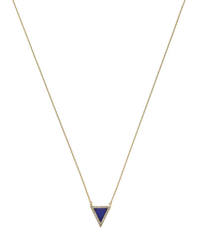Golden Pave Triangle Pendant Necklace
