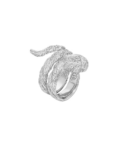 Classic Chain Twisted Coil Ring, Size 7