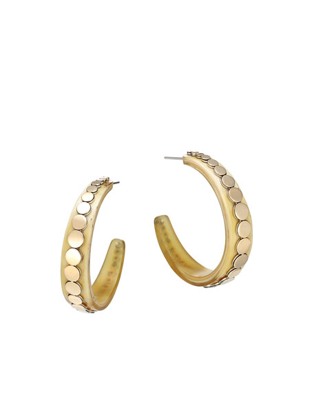 John Hardy Dot Buffalo Horn Hoop Earrings QcOTo3SD