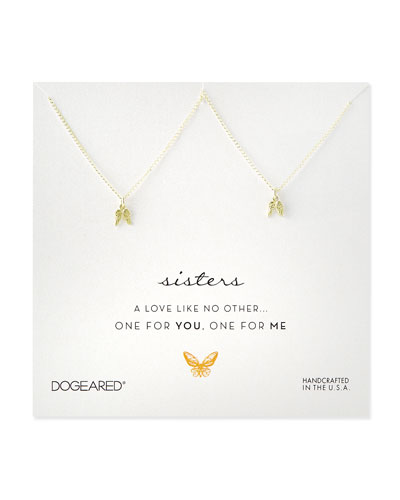 Gold-Dipped Sisters Angel Wings Necklaces, Set of 2