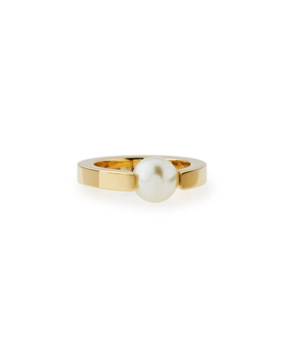 Darcy Simulated-Pearl Solitaire Ring, Size 7