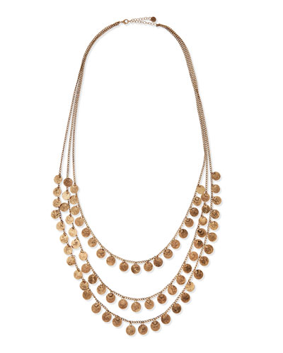 "Triple-Strand Medallion Necklace, 35""L"