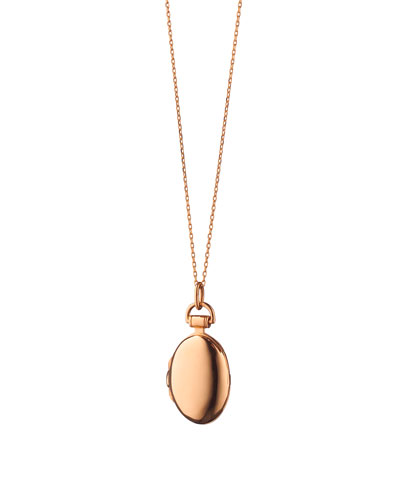 Anna 18k Rose Gold Petite Locket Necklace, 17