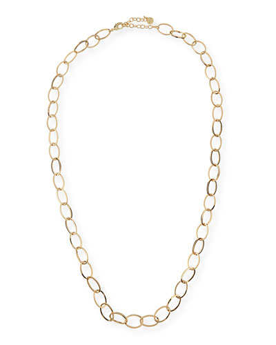Long Golden Chain Link Necklace