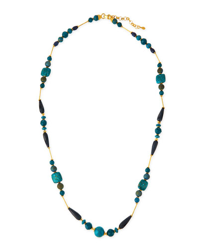 Long Blue Station Necklace, 44""