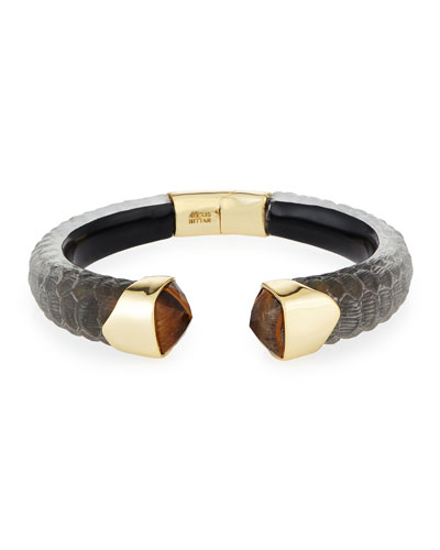 Crocodile Textured Hinge Bracelet