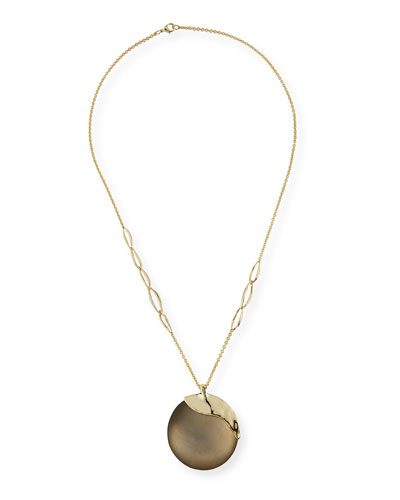 Liquid Metal Long Disk Pendant Necklace, 32""