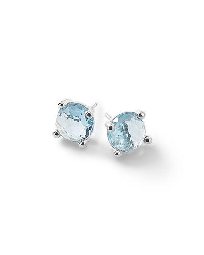 Silver Rock Candy Mini Stud Earrings in Blue Topaz