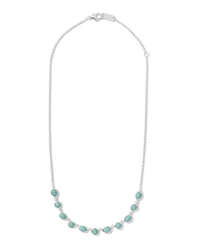 Silver Rock Candy Multi-Shape Stone Necklace, Turquoise