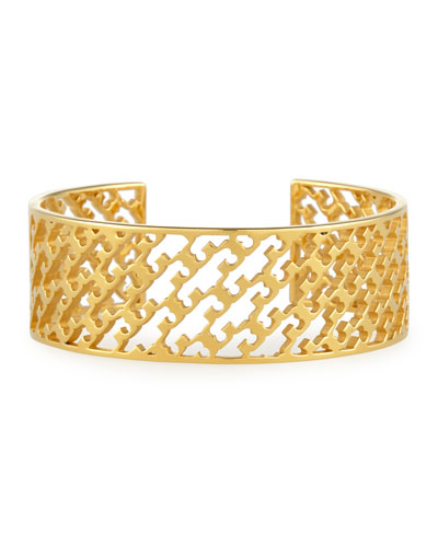 Perforated Serif-T Cuff Bracelet