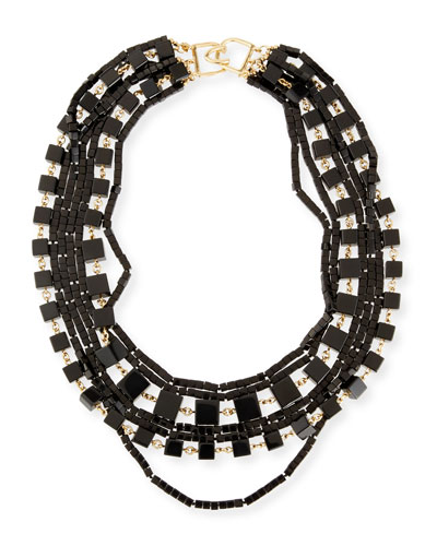 Multi-Strand Beaded Cube Necklace, Black