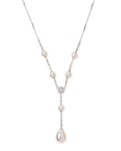 Pearl & Cubic Zirconia Y-Necklace