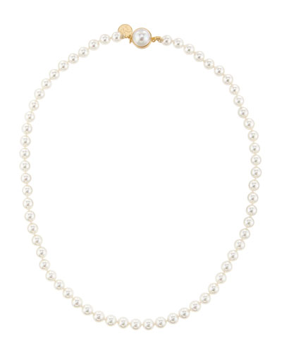6mm Pearl Necklace with Mabe Clasp, 18