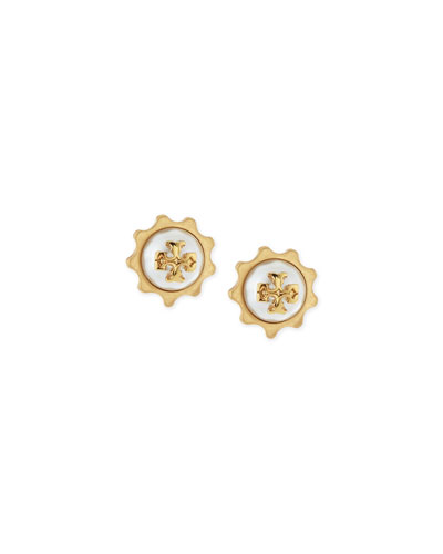 Gear Pearly Logo Stud Earrings