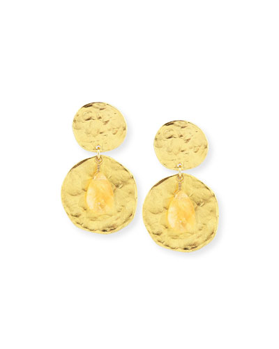 Golden Coin and Glass Citrine Earrings