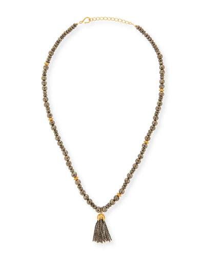 Shanti Pyrite Long Tassel Necklace