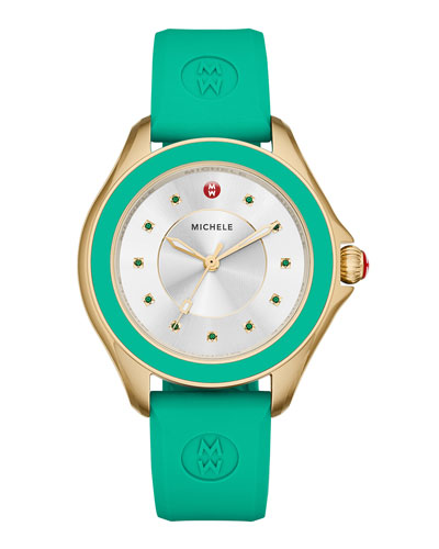 Cape Green Topaz Watch with Silicone Strap, Yellow Golden