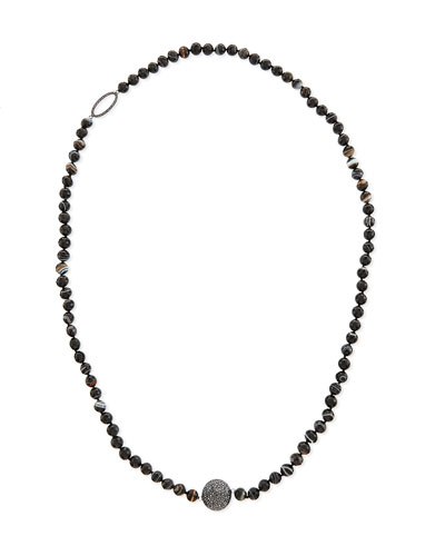 Long Faceted Black Line Agate Necklace, 40""