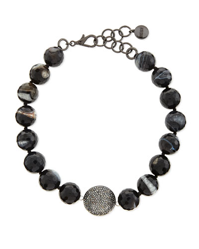 Short Black Line Agate Necklace, 17""