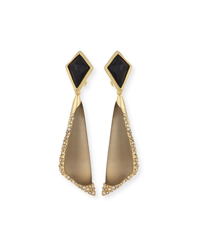 Lucite Encrusted Pave Clip-On Earrings