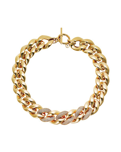 Pave Curb Chain Link Necklace