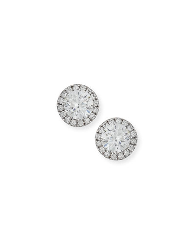 Round Cubic Zirconia Button Earrings