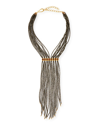 Pyrite Beaded Fringe Necklace