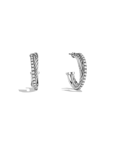 Small Crossover Hoop Earrings with Diamonds