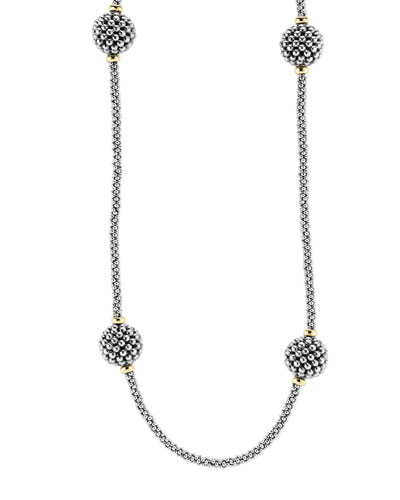 13mm Caviar Lattice Station Necklace, 32