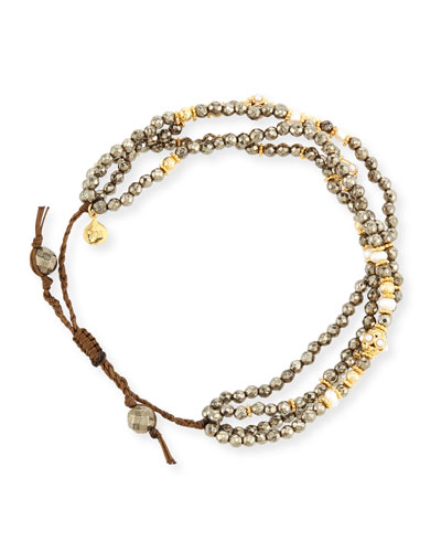 Faceted Pyrite Silk Cord Bracelet