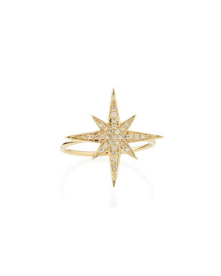 Sydney Evan Medium 14K Yellow Gold Diamond Starburst Ring, Size 6.5