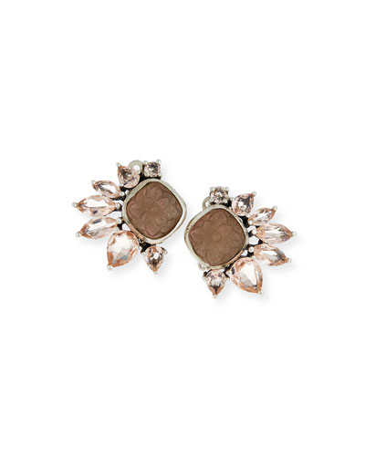 Doublet & Pale Quartz Clip-On Earrings, Champagne