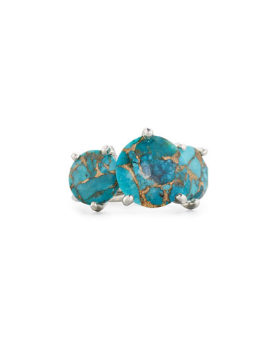 925 Rock Candy Three-Stone Turquoise Ring, Size 7