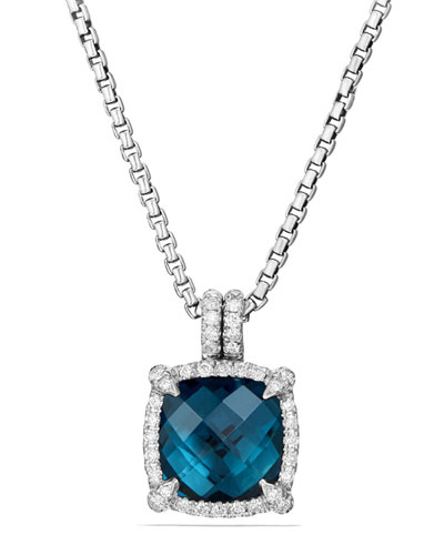 9mm Châtelaine Hampton Blue Topaz Pendant Necklace with Diamonds