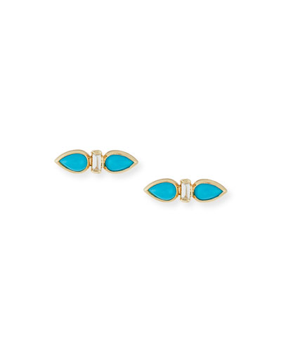 14K Turquoise Cabochon & Diamond Baguette Stud Earrings