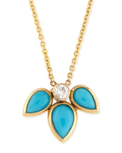 Teardrop Turquoise & Diamond Half-Starburst Necklace