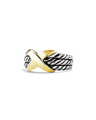18K X Triple-Row Sterling Silver Ring