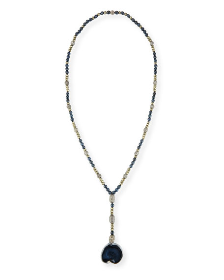 Hipchik Emerson Long Beaded Agate Necklace, Navy