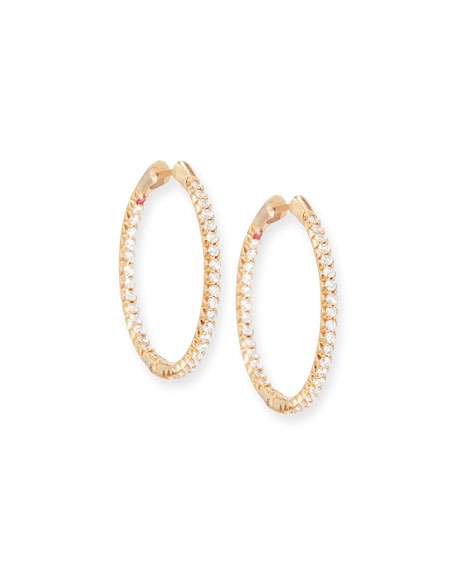 Roberto Coin 25mm 18K Gold Micro-Pave Diamond Hoop Earrings xKhWMk