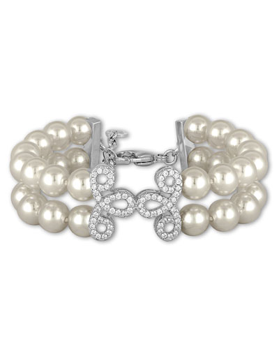 Two-Row Pearly Bead Bracelet, White