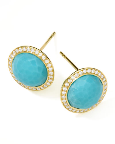 Rock Candy 18k Gold Lollipop Diamond Stud Earrings