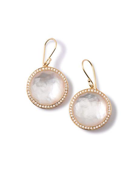 Gold Rock Candy Lollipop Diamond Mother Of Pearl Earrings