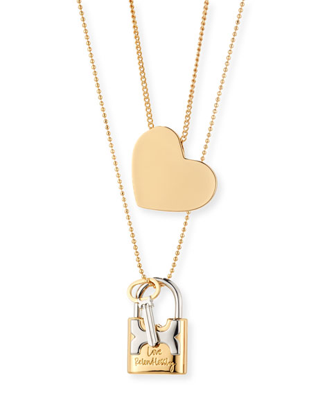 vecchio lock gioielli love pendant rose necklace white padlock ponte gold